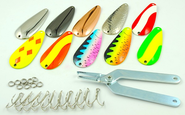 Casting spoon assembly kits for Fishing spoon blanks